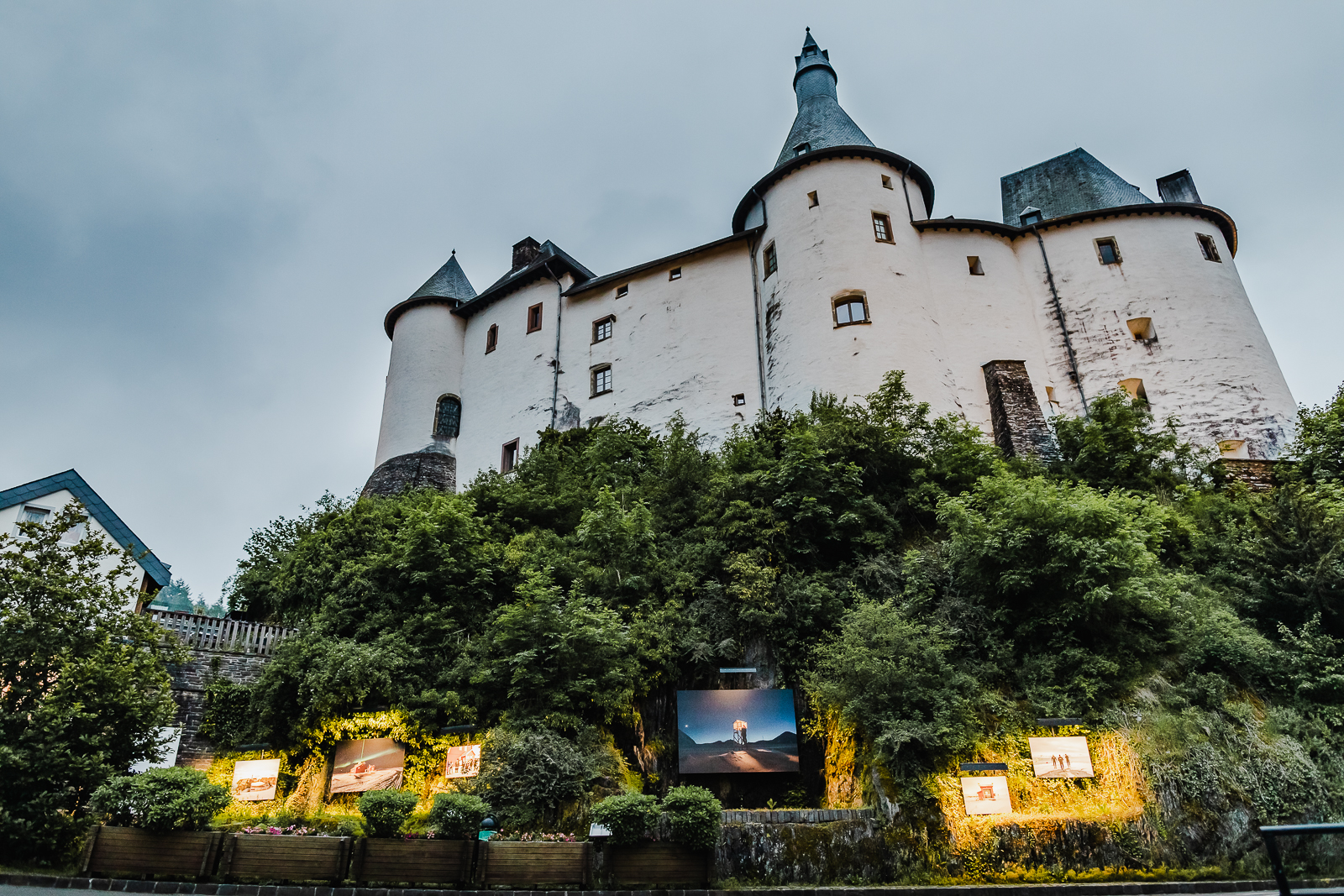 Clervaux castle in the evening with light up expo