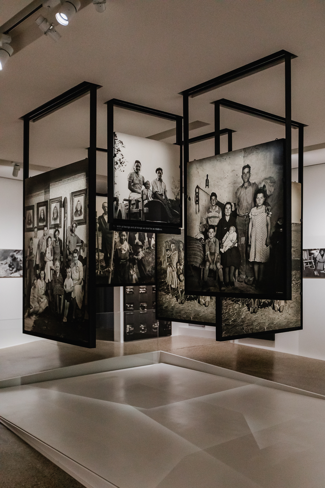 Black and white photos at family of man exposition
